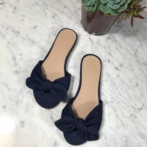 J. Crew Denim Knotted Fabric Slides Sandals Shoes